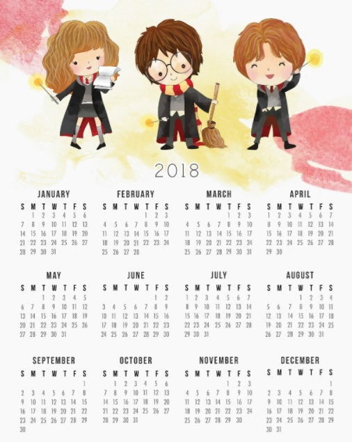 Year At A Glance 2018 Calendar Design