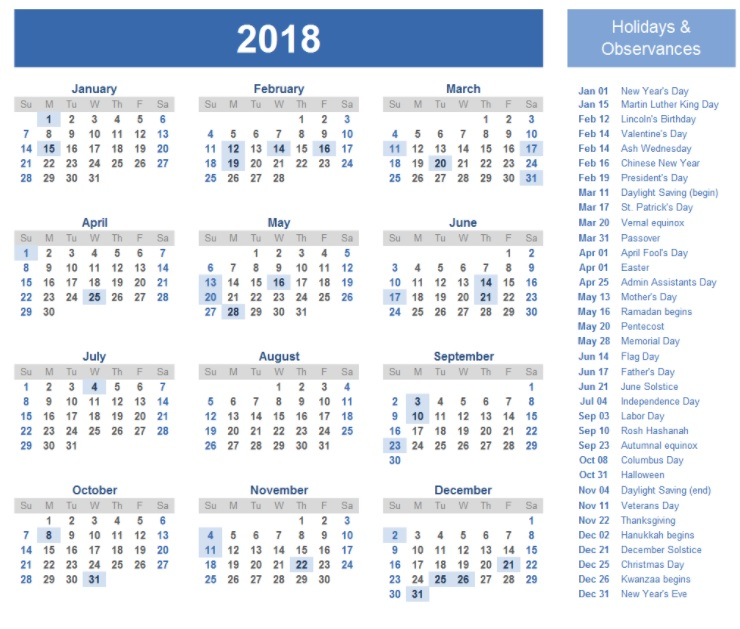 Year At A Glance 2018 Calendar Free