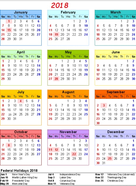 Year At A Glance 2018 Calendar Holidays