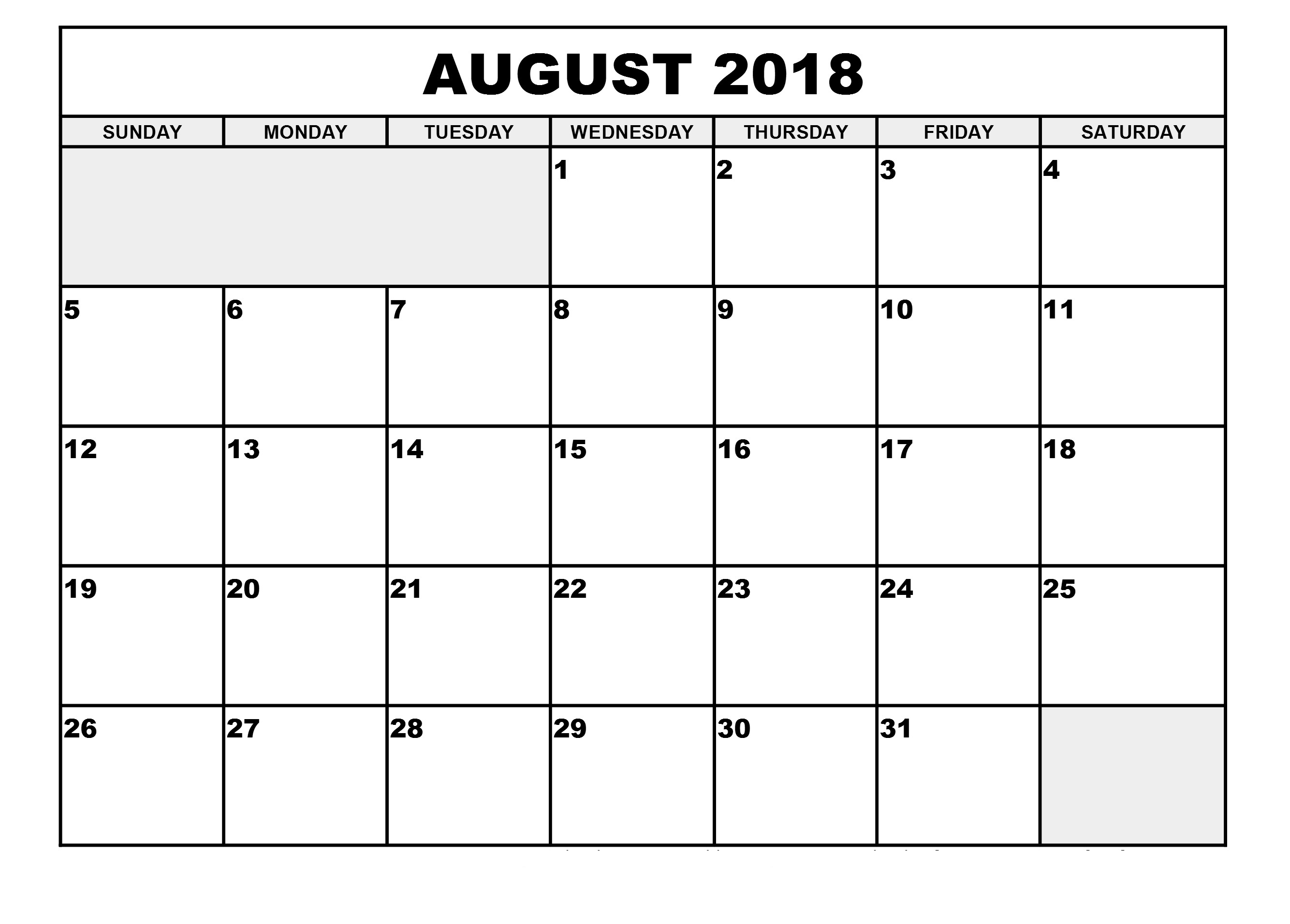 2018 August Weakday Calendar Templates