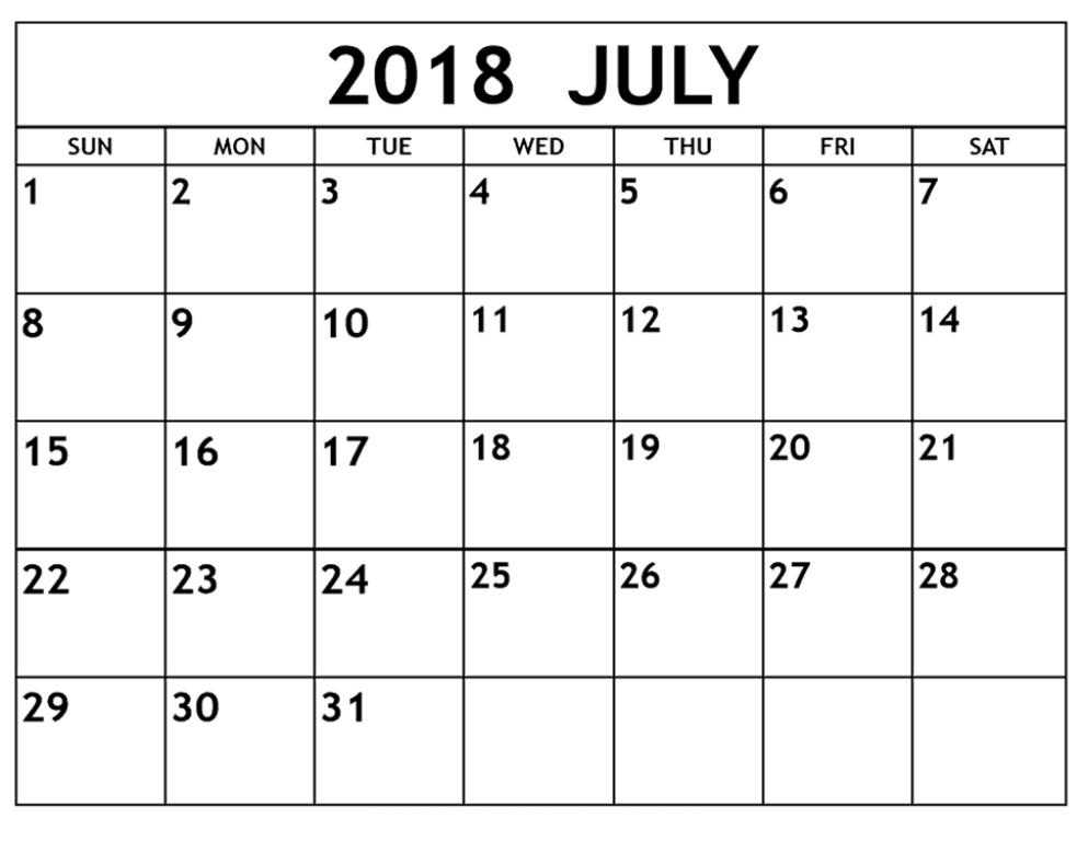 July 2018 Calendar Printable Pdf Free Template