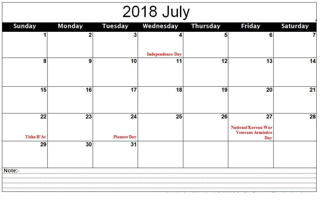 2018 July Calendar With Holidays