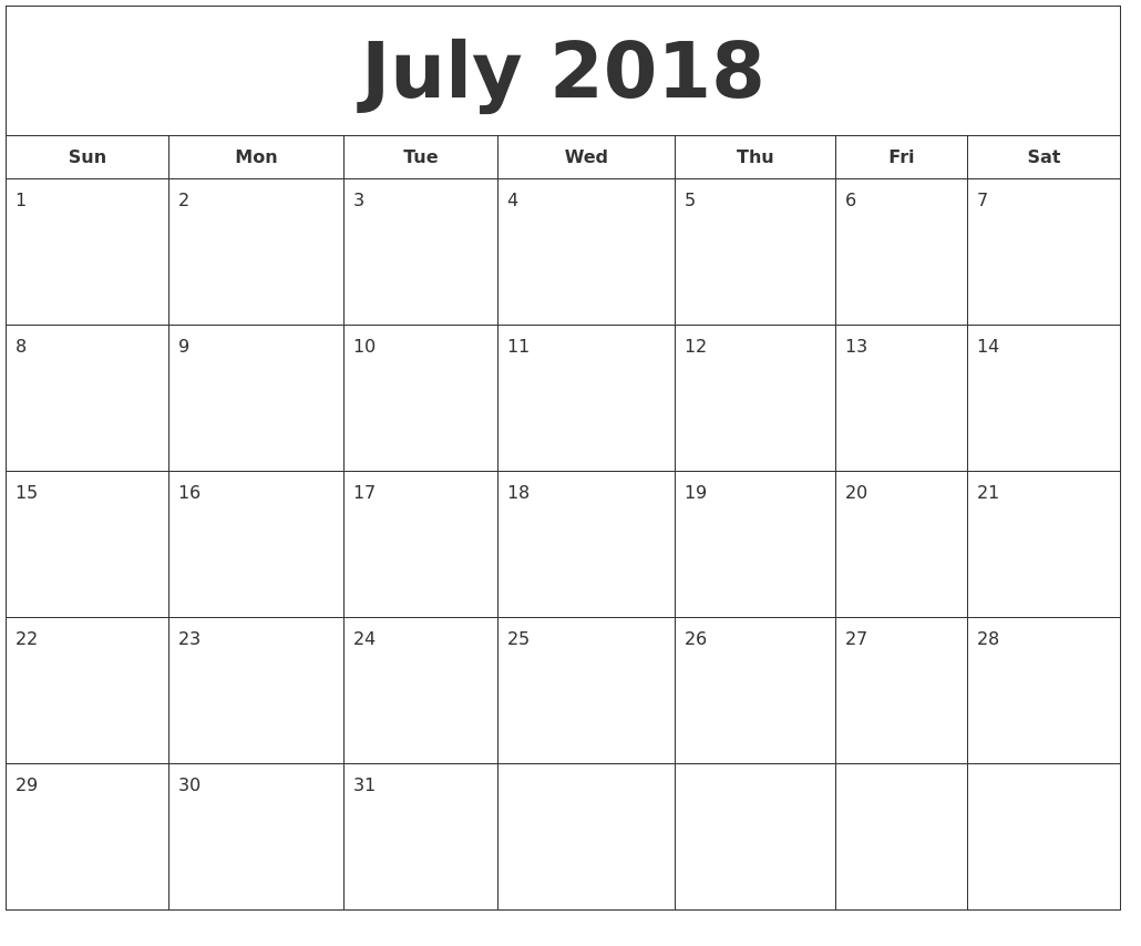 Astrology July Calendar 2018 Printable Templates