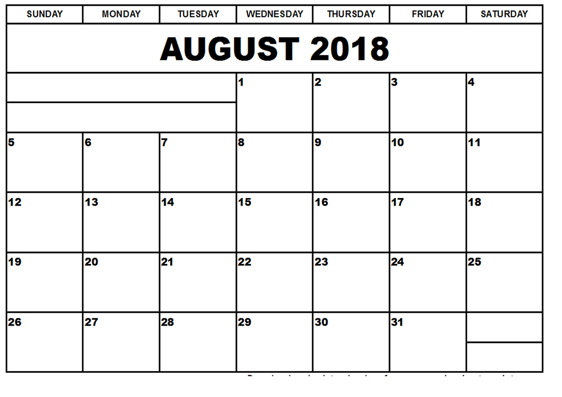 August Calendar 2018 Large Title