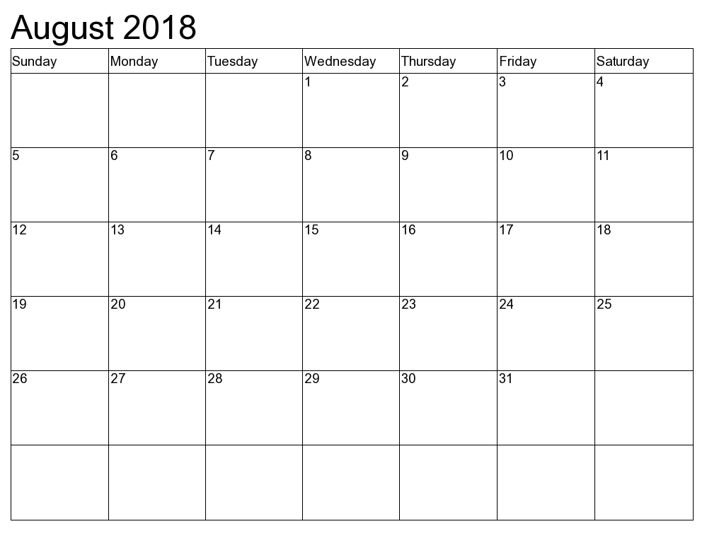 August Calendar 2018 Weakend Templates