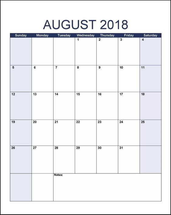 August Calendar 2018 Word Document