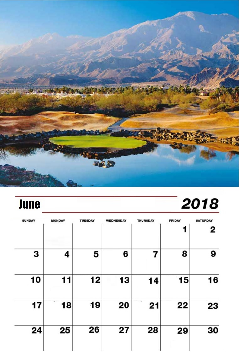 Beautiful Personalized June 2018 Calendar