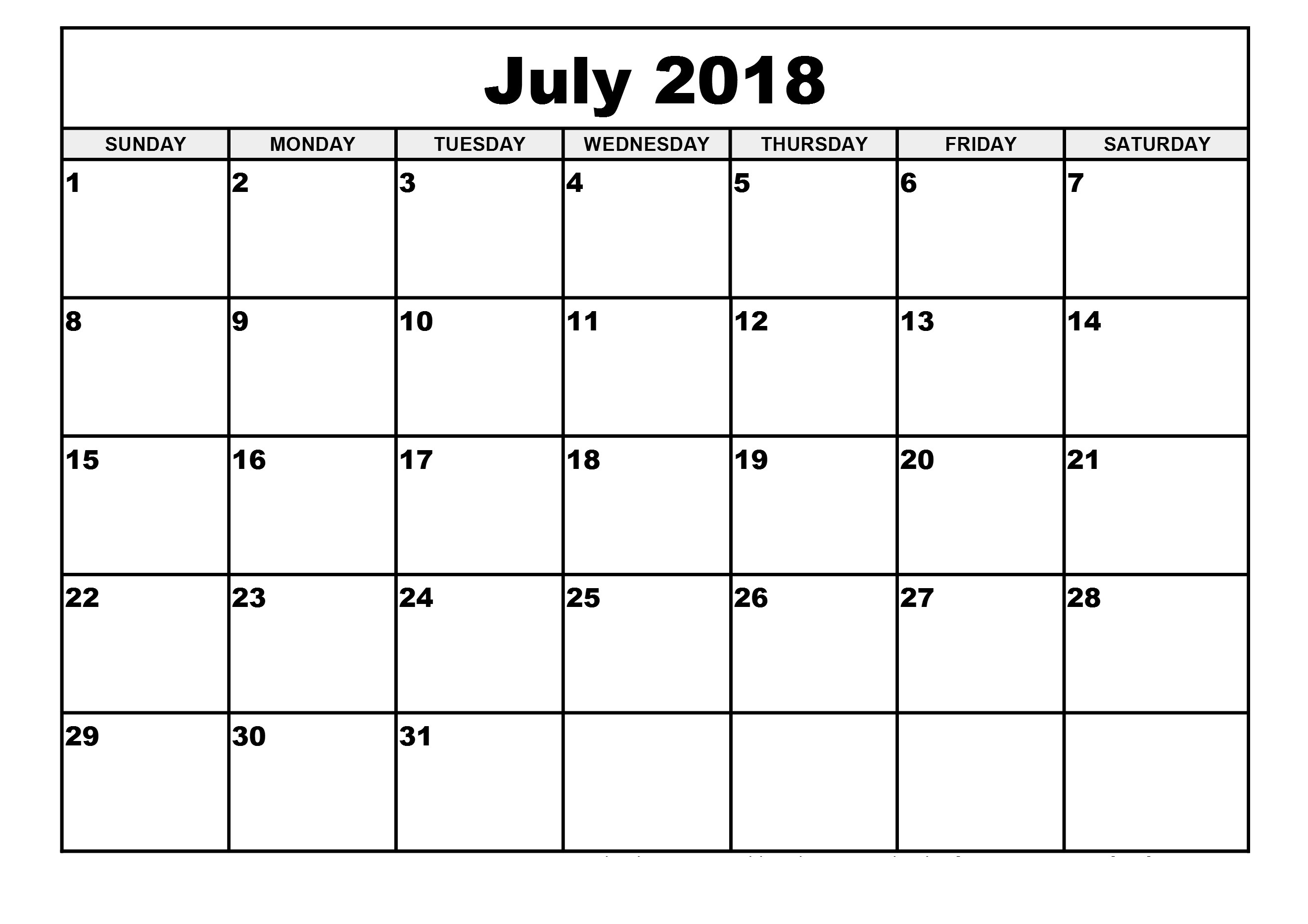 July Calendar 2018 Monthly Desk Template