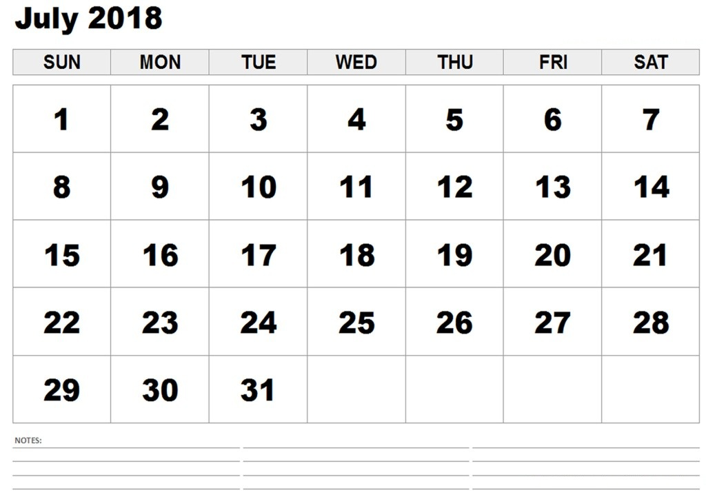 Calendar July 2018 Printable Template
