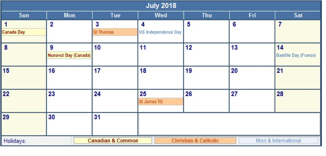 Calendar July 2018 With Holidays