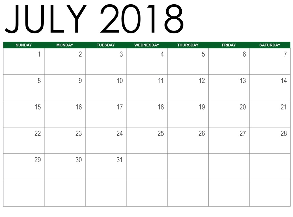 Calendar July 2018 Worksheet