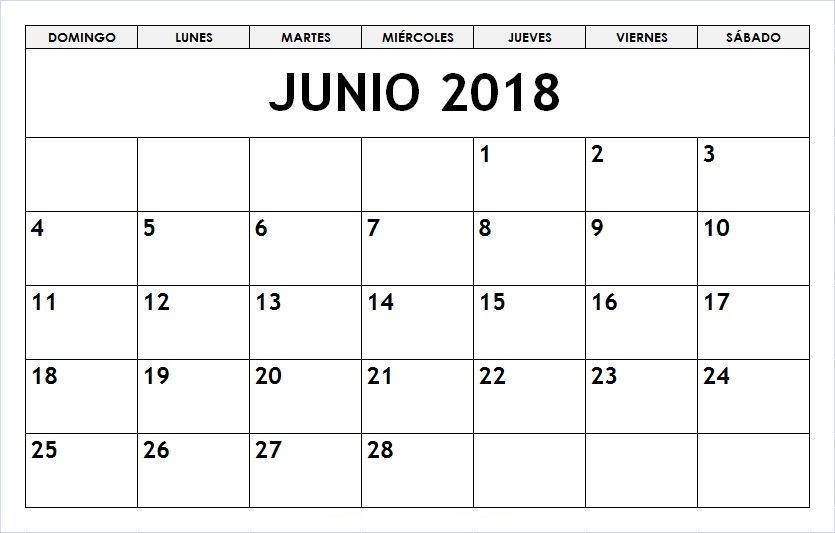 Calendario Junio 2018 Para Imprimir Word