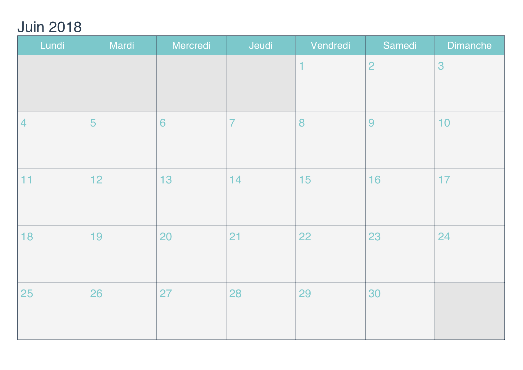 Calendrier Juin 2018 Turquoise