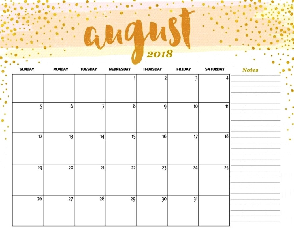 Colorful August Calendar 2018 With Reminders