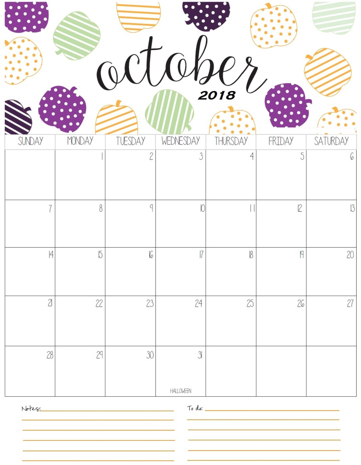 Downlaod October 2018 Calendar