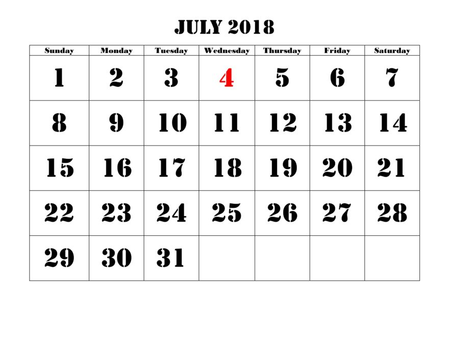 Daily July Calendar 2018 Printable Large Number