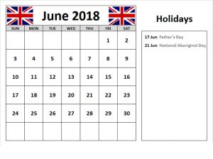 June 2018 Calendar Uk  With Reminders