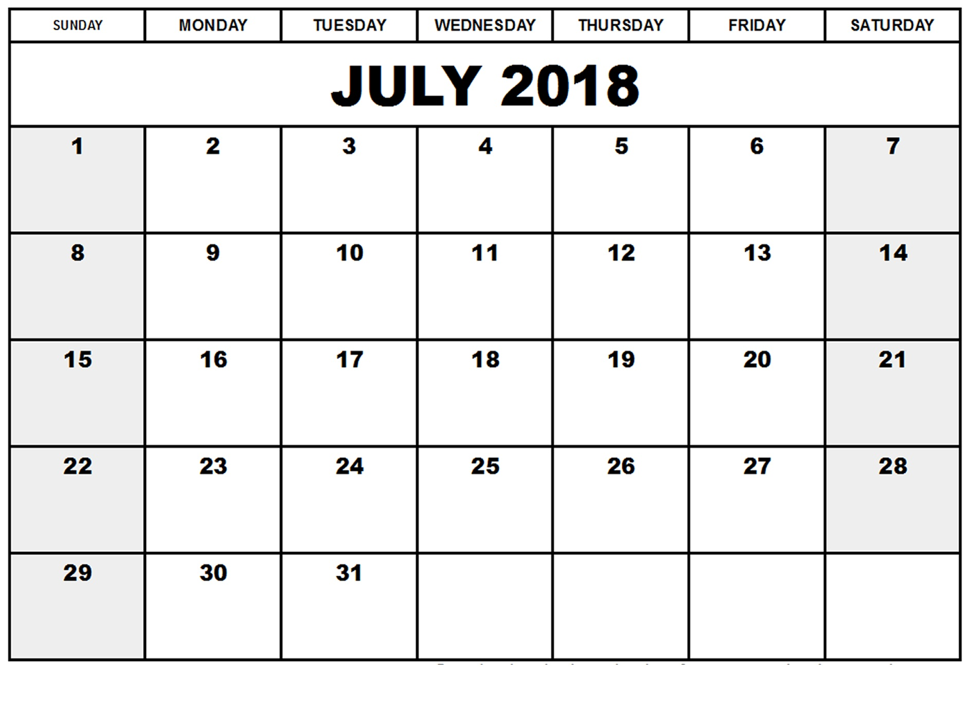 Digital July Calendar 2018 Printable
