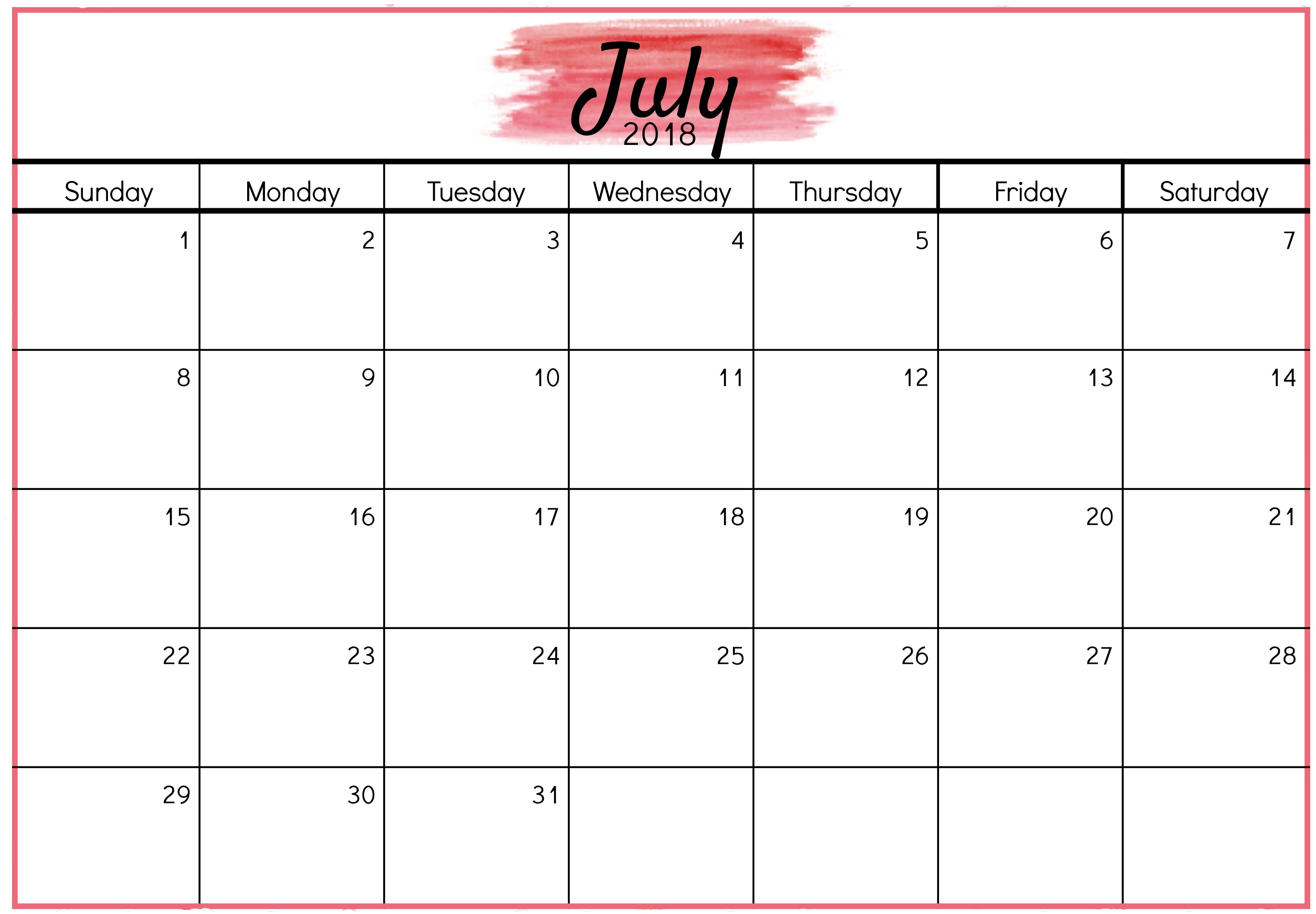 Digital July Calendar 2018 Template