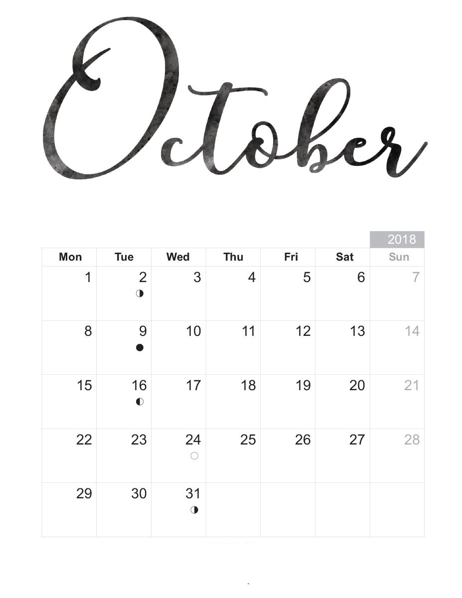 October 2018 Calendar With Quotes