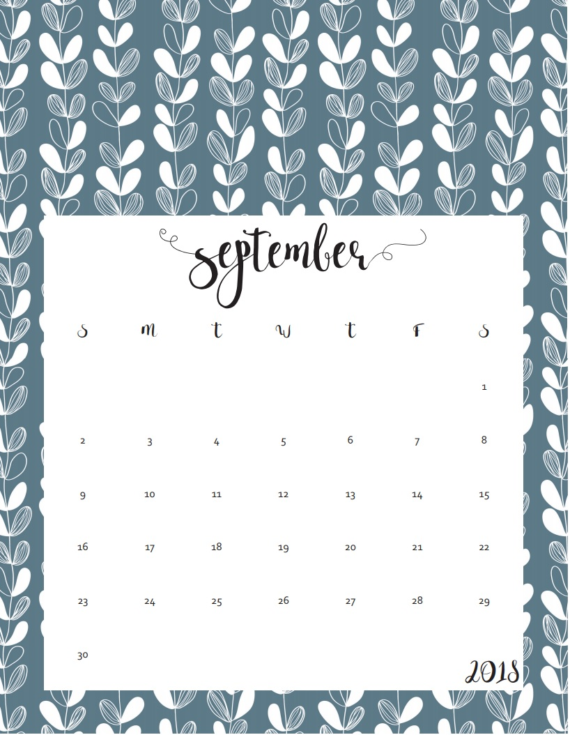 September 2018 Calendar Printable Monthly
