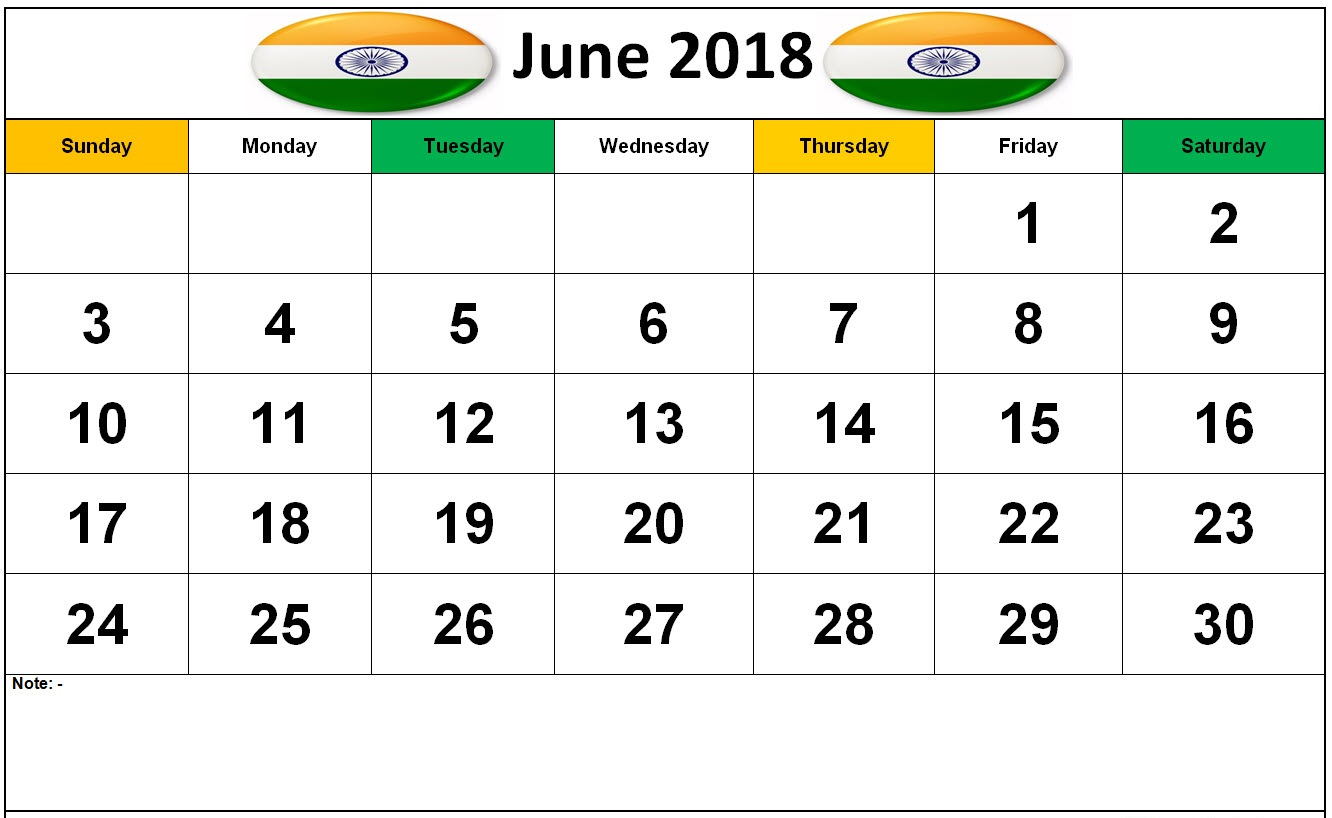 June Calendar 2018 with Indian Holidays