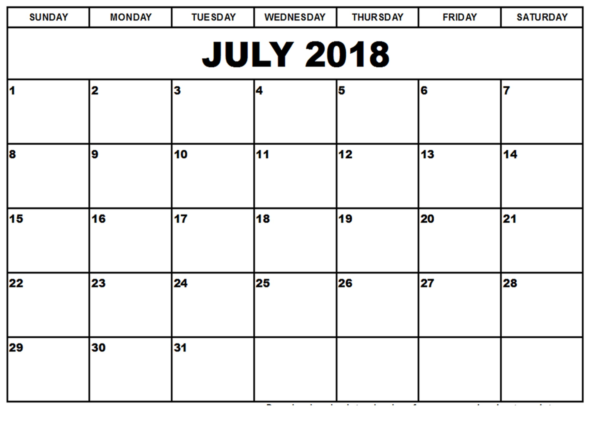Editable July Calendar 2018 Desk Template