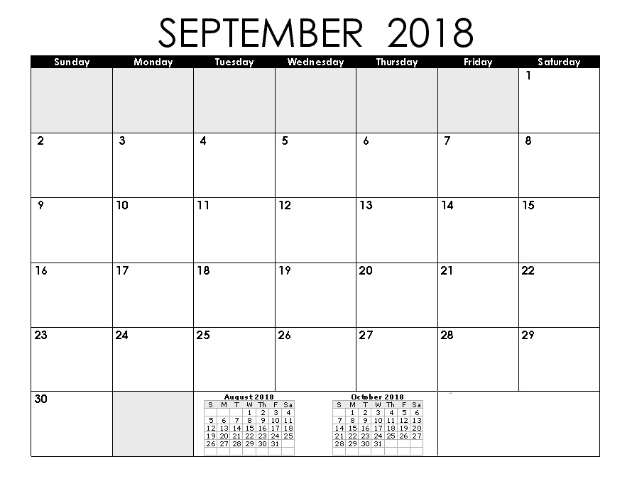 Editable September 2018 Calendar With Public Holidays