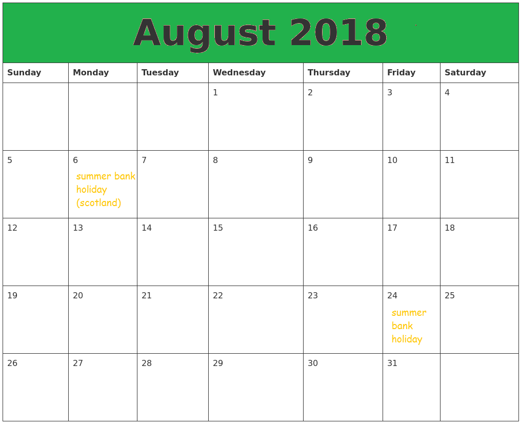 Free Template 2018 August Title Calendar