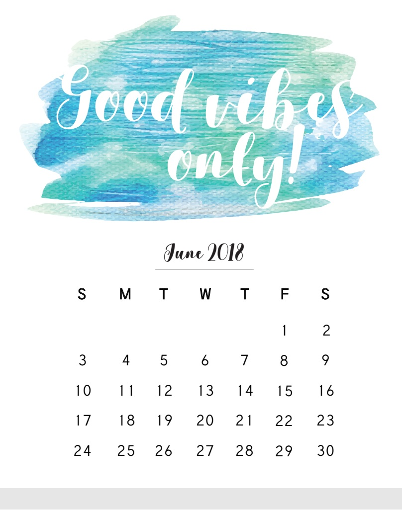 Inspirational June 2018 Quotes Calendar