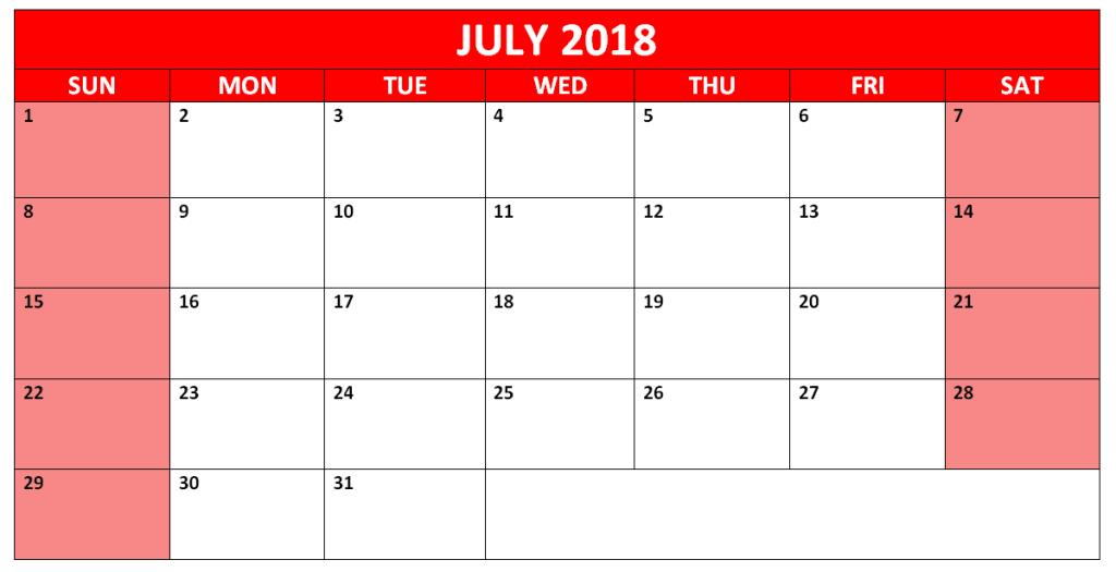 July 2018 Calendar Printable Cute