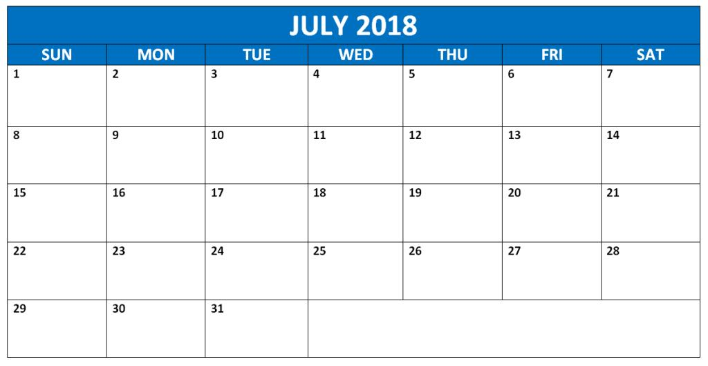 July 2018 Calendar Printable Excel