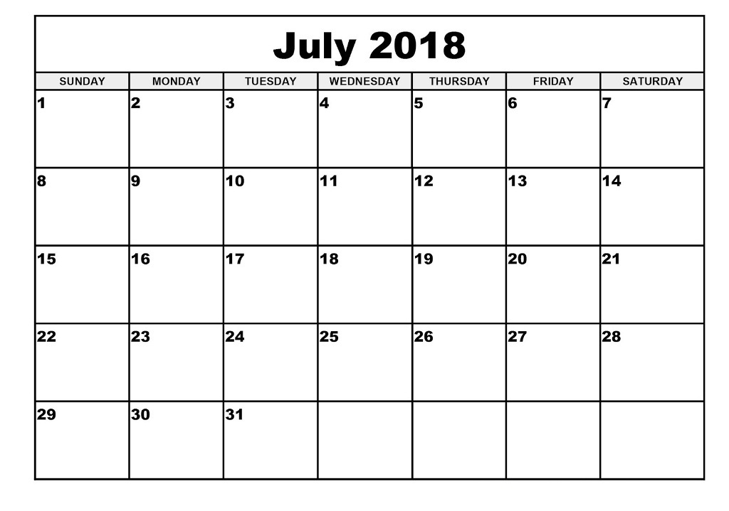 July 2018 Calendar Printable Sheet