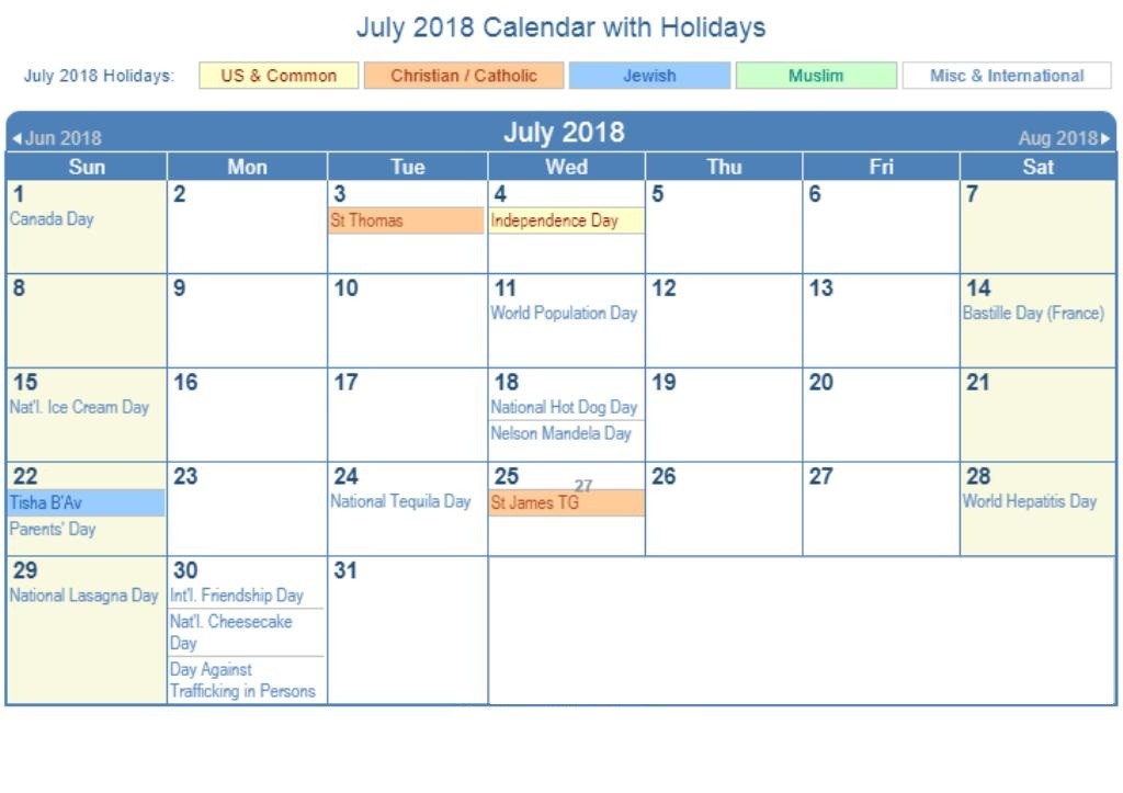 July 2018 Calendar Printable With Holidays