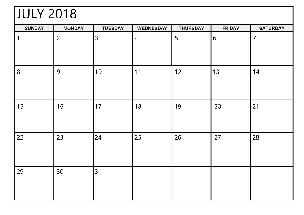 July 2018 Calendar Printable Worksheet