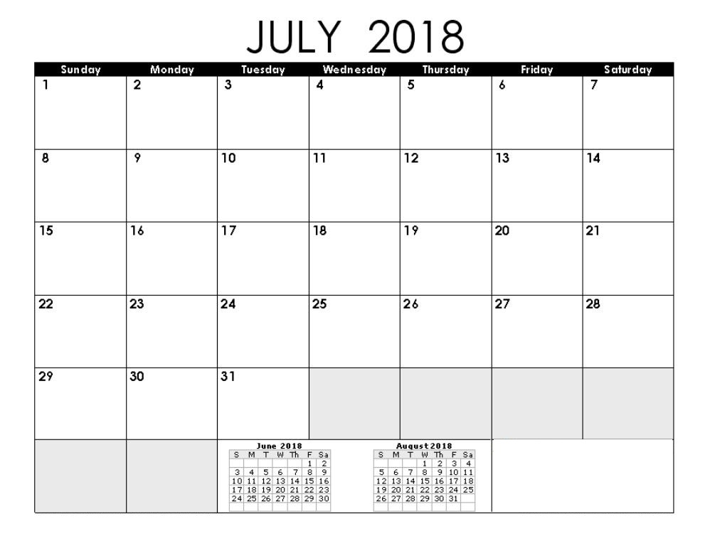 July 2018 Calendar Template Images
