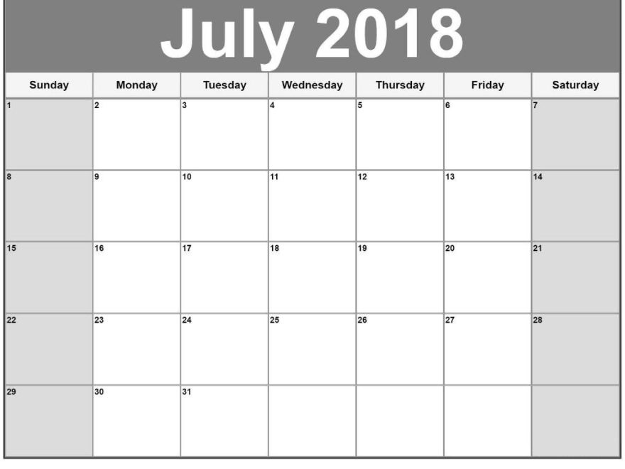 July 2018 Calendar Vertical