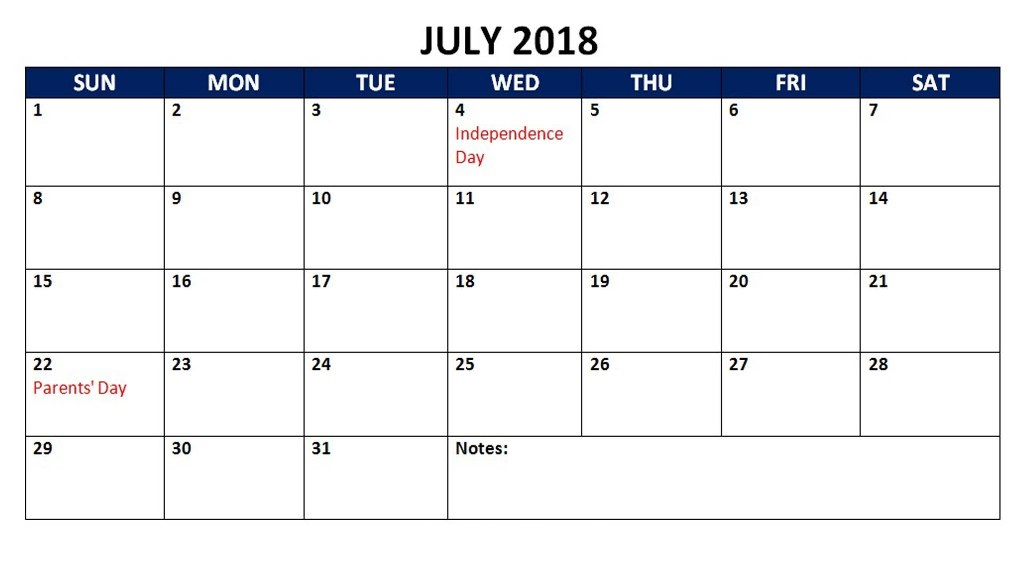 July 2018 Calendar With Holidays Australia