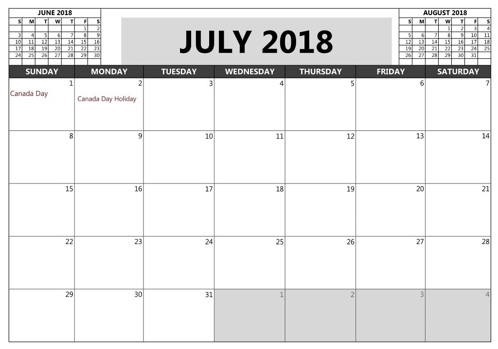 July 2018 Calendar With Holidays Bank and Public
