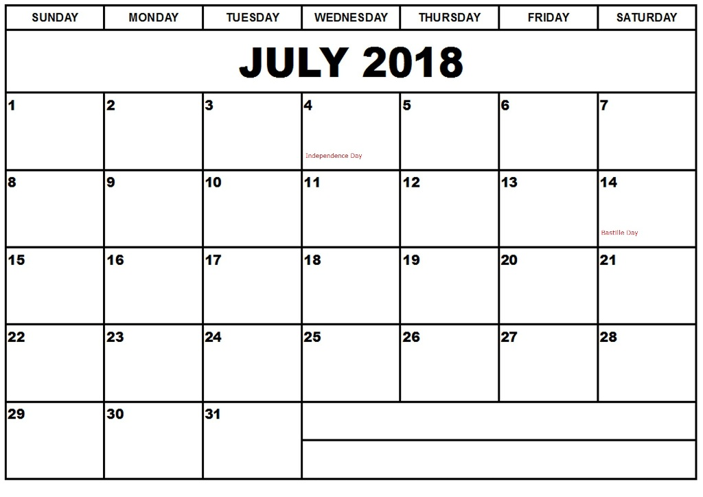 July 2018 Calendar With Holidays For Office