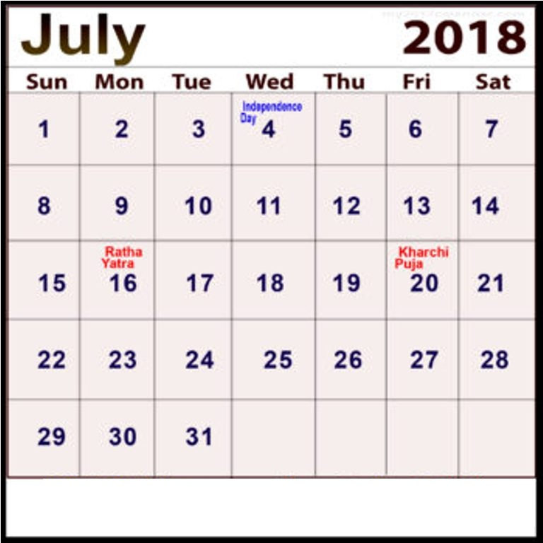 July 2018 Calendar With Holidays India