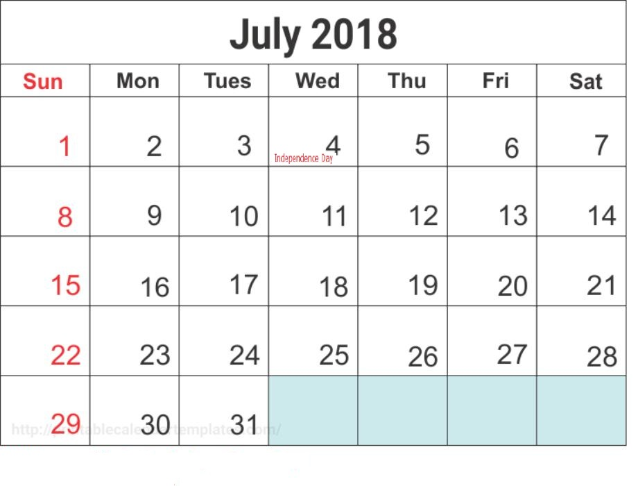 July 2018 Calendar With Holidays List