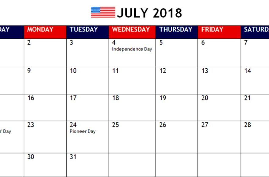 July 2018 Calendar With Holidays UK