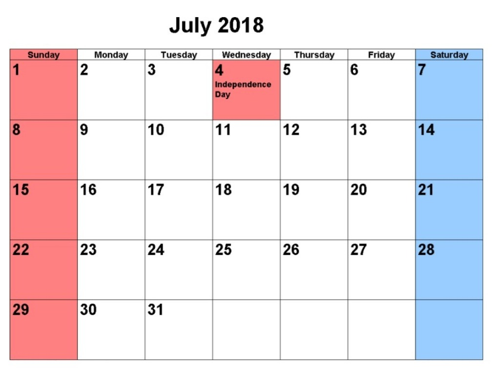 July 2018 Calendar With Holidays USA