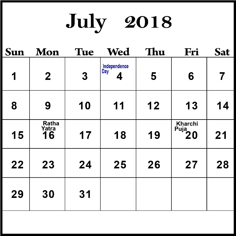 July 2018 Calendar With Holidays and Festivals