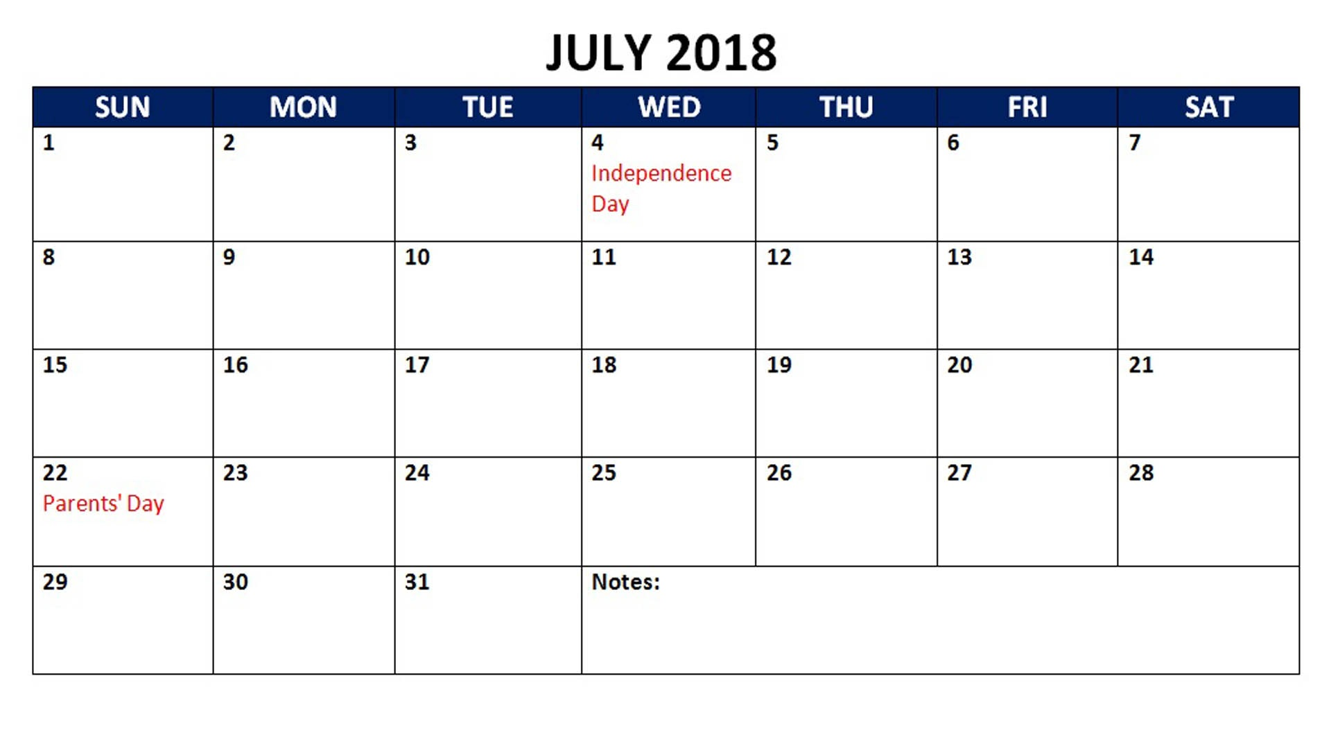 July 2018 Calendar With Holidays