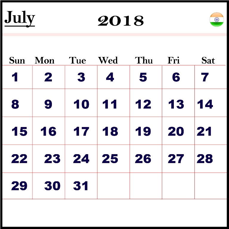 July 2018 Calendar With Indian Holidays