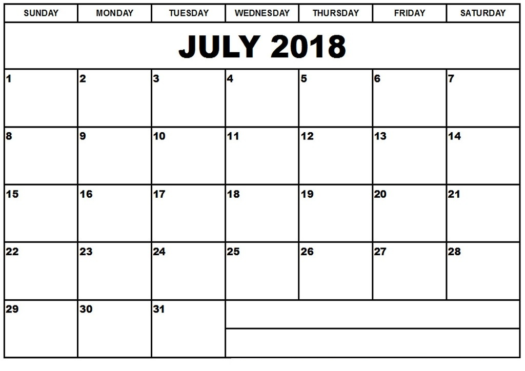 July 2018 Calendar With Notes