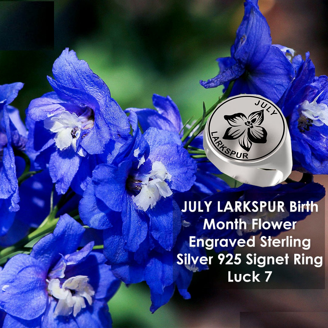 July Birth Flower Larkshpur With Quotes