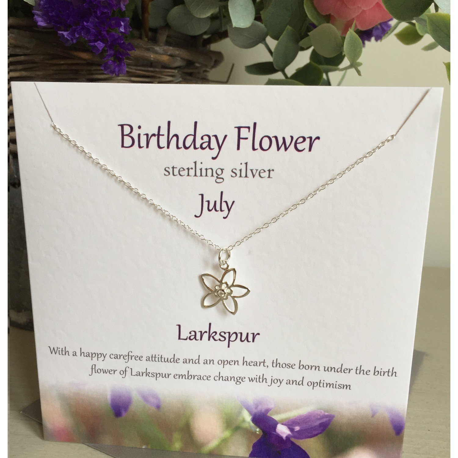 July Birth Flower With Neckpiece Design